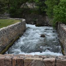 River walls above stonebridge to Superintendent's residence, Timpanogos Cave NM - Mt Timpanogos UT