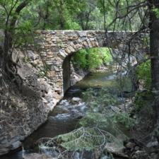 Stone bridge to headquarters building, Timpanogos Cave NM - Mt Timpanogos UT