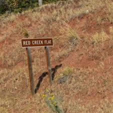 Sign for Red Creek Flat along Mt Nebo Loop Road near Salt Creek - Mt Nebo UT