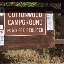 Sign for Cottonwood Campground - Mt Nebo UT