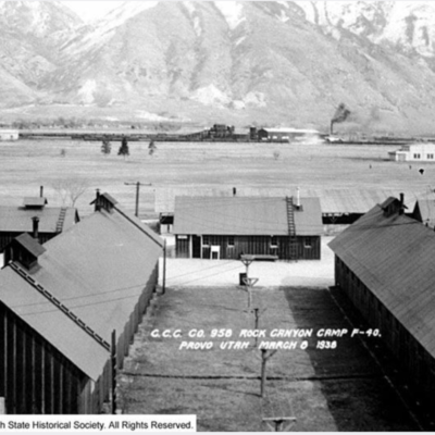CCC Camp F-40 in 1936, looking east - Provo UT