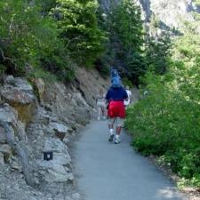 Hiker on Timpanogos Cave trail - Mt Timpanogos UT