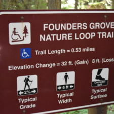 Sign for Founders Grove nature trail-Humboldt Redwoods State Park CA