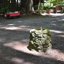 Stone drinking fountain, Burlington campground - Humboldt Redwoods State Park CA
