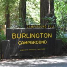 Entrance sign, Burlington campground - Humboldt Redwoods State Park CA