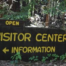 Visitor Center sign, Burlington - Humboldt Redwoods State Park CA