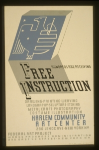 Poster for the WPA Federal Art Project's Community Art Center in Harlem