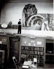 Raymond Breinin painting the Skokie School WPA Mural